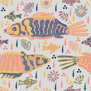 Australian Aboriginal Art Inspired. River day life