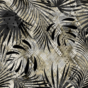 Palm leaves on a background of snake skin.