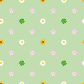 Mini Spring Flowers Polka Dot (Green)