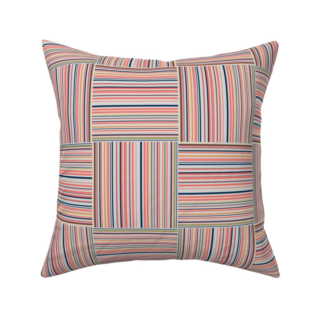 Catalan Throw Pillow featuring striped squares  by variable