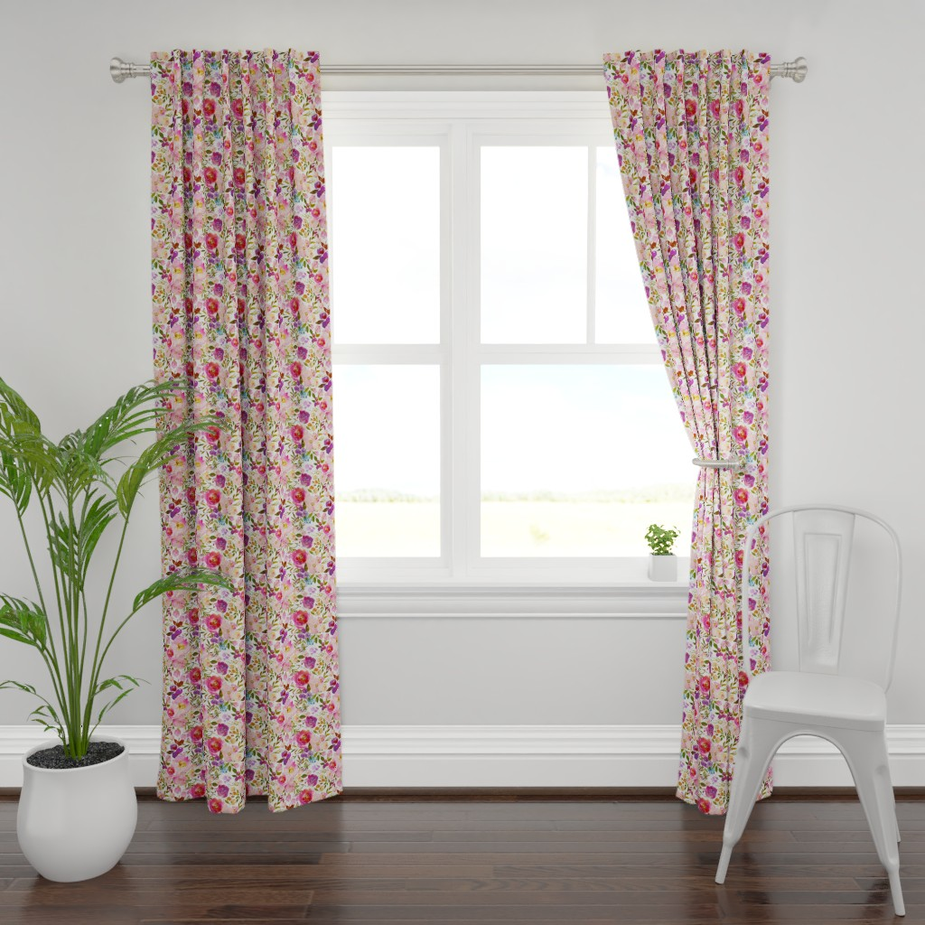 Plymouth Curtain Panel featuring Pink Watercolor Spring Florals by g+c