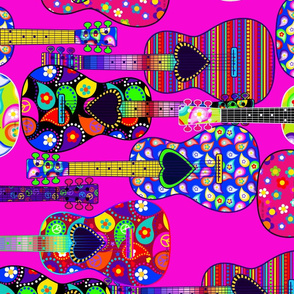 Pink Background Hippie Guitars