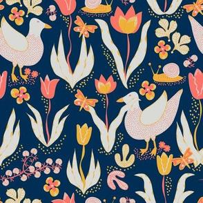 Ducks and tulips