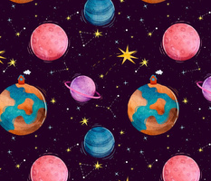 Bright space for children with multicolored planets