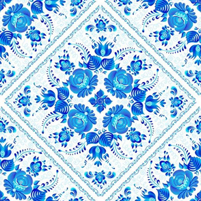 Blue square tiles with floral ornament
