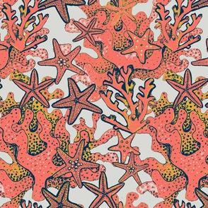 starfish, coral and yellow reef //  Watercolor  coral ocean