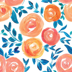 Bohemian Living Coral 2019 Color of the Year Florals - LARGE scale