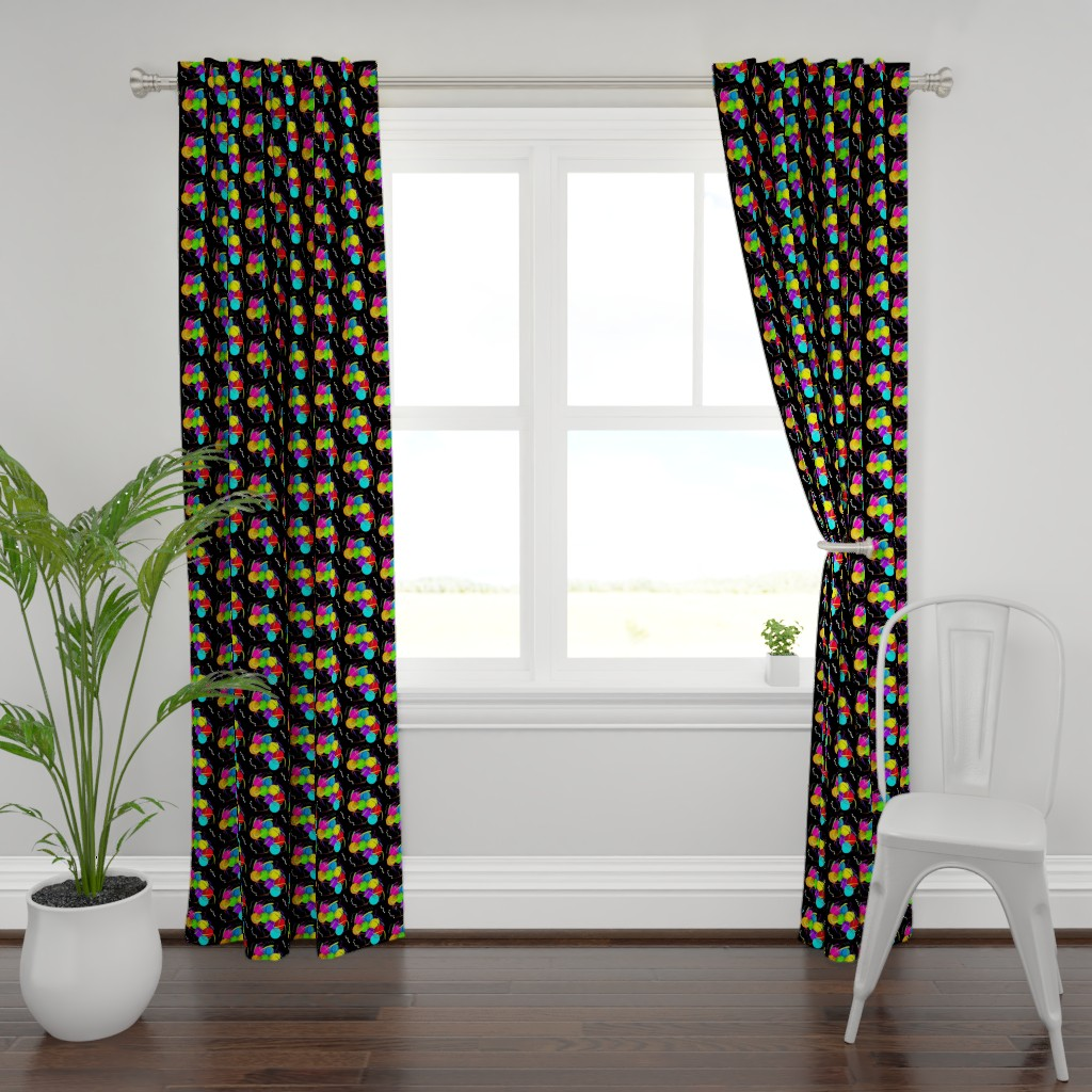 Plymouth Curtain Panel featuring Party Fun - black by bravenewart