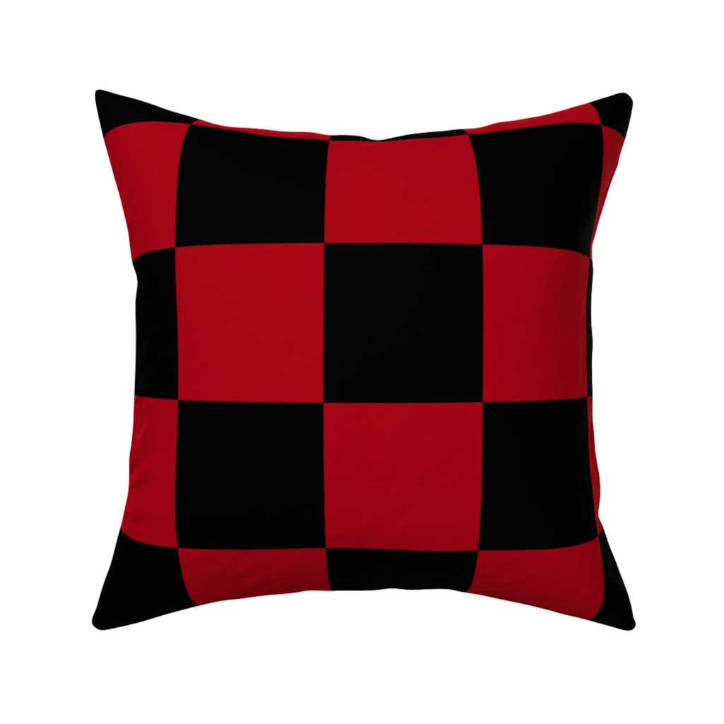 Catalan Throw Pillow featuring Four Inch Dark Red and Black Checkerboard Squares by mtothefifthpower