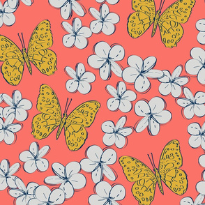 butterflies and flowers on a coral background