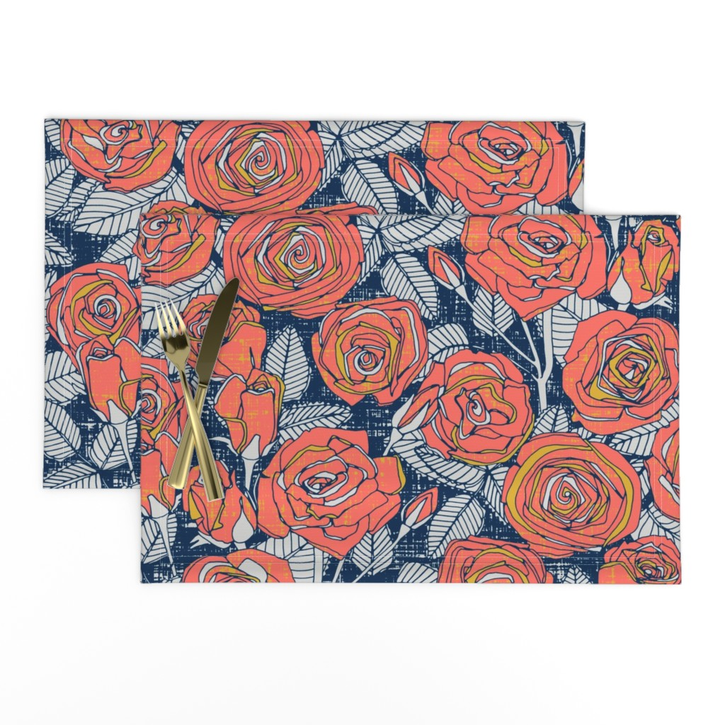 Lamona Cloth Placemats featuring ROSES LIMITED by scrummy