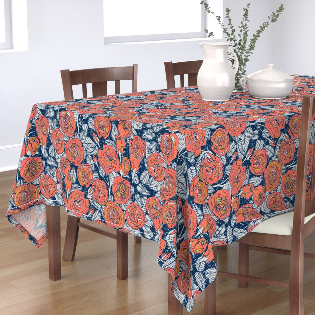 Bantam Rectangular Tablecloth featuring ROSES LIMITED by scrummy
