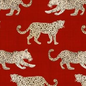 Leopard Parade linen red