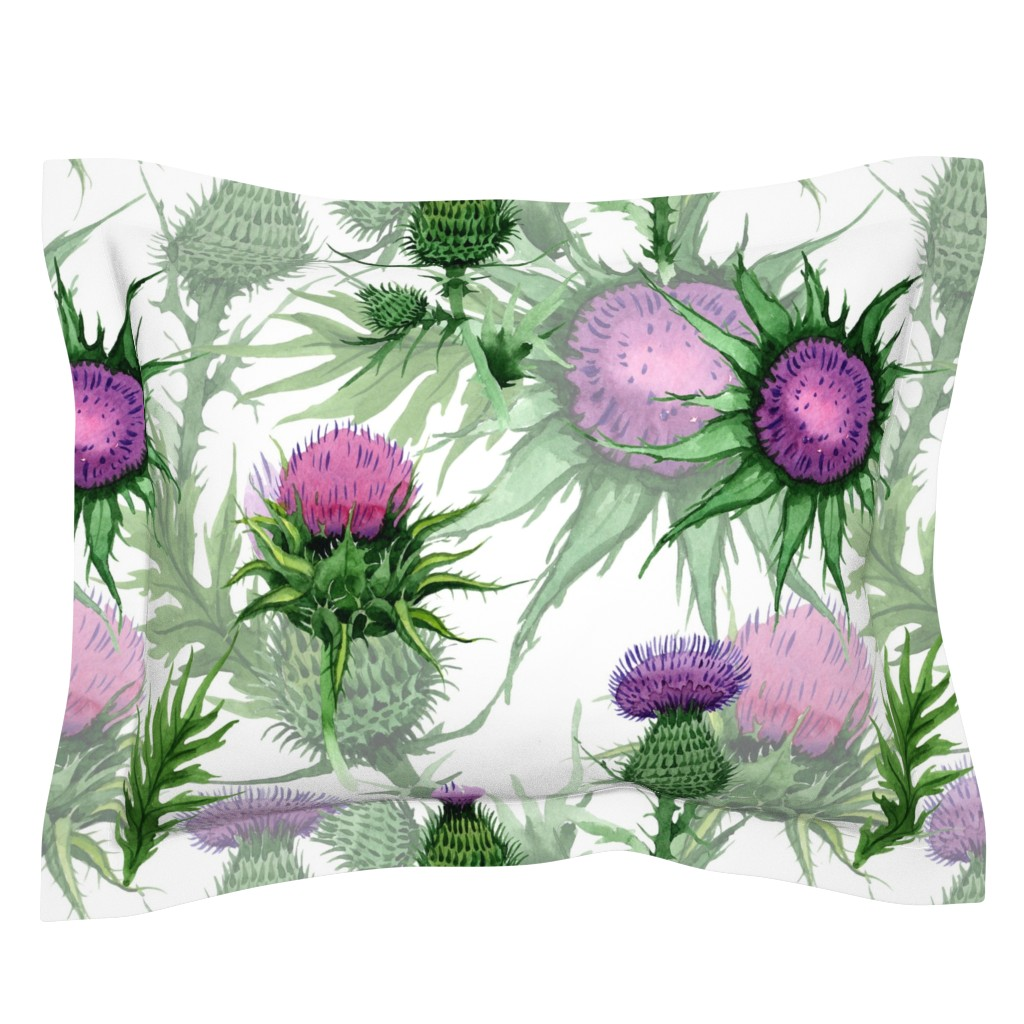 Sebright Pillow Sham featuring Thistle Garden(Large) by floramoon