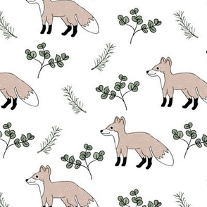 Little Fox forest love sweet fall design soft pastel green beige boys
