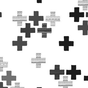 Tossed plus signs crosses new modern abstract Scandinavian icon design monochrome black and white