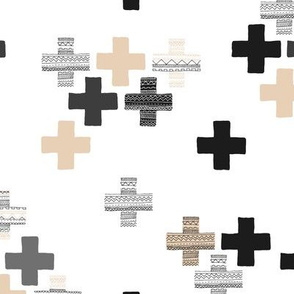 Tossed plus signs crosses new modern abstract Scandinavian icon design black beige gender neutral