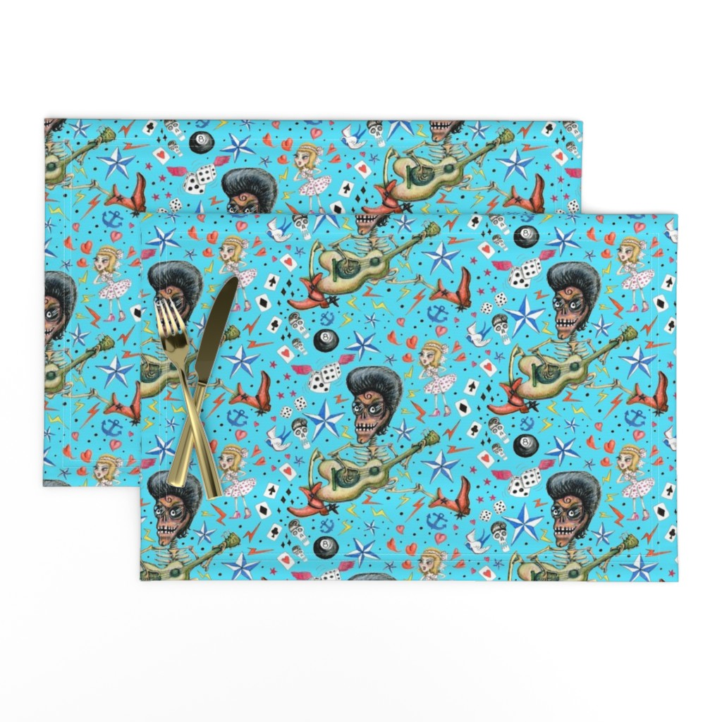 Lamona Cloth Placemats featuring rockabilly bone daddy crush, large scale, aqua blue turquoise sky retro vintage punk Americana  by amy_g