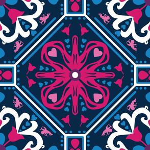 Valentines Tile on Blue