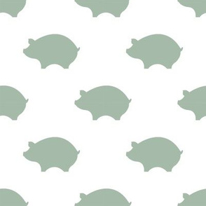 Soft Green Pigs on White Background