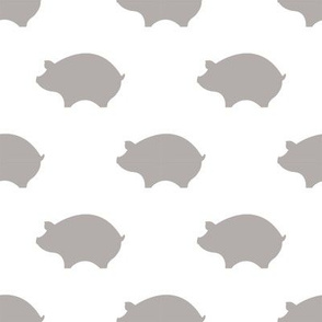 Taupe Pigs on a White Background
