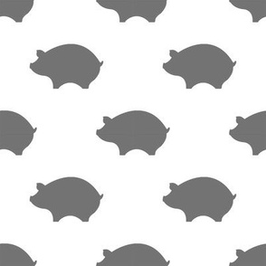 Greige Pigs on White Background