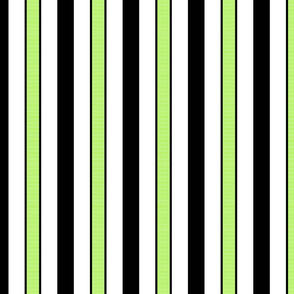 Black & Spring Green Stripes on White