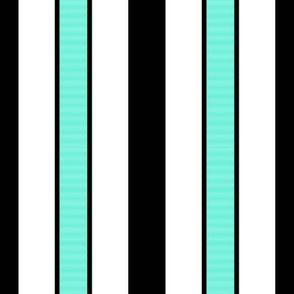 Black & Aqua Blue Stripes on White