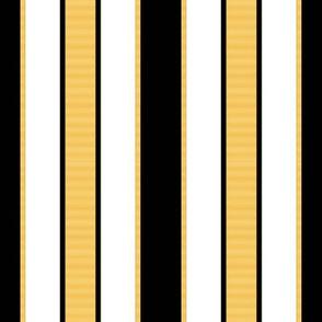 Black & Gold Stripes on White