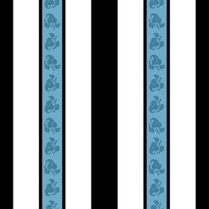 French Blue & Black Floral Stripe