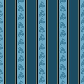 French Blue Floral Stripe on Dark BG