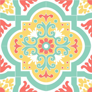 Coral and Teal Spanish Tile Large