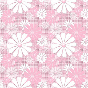 White, pink flowers on light pink checkered background.