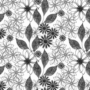Black and white floral openwork pattern.