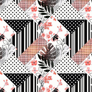 abstract floral, geometric pattern. Patchwork.