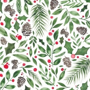 Christmas pinecones and berries
