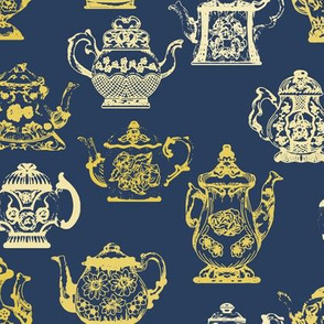 Vintage Teapots Blue Yellow