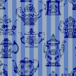 Vintage Teapots Blue Stripes