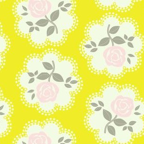 Rose Doily Yellow Pink Grey