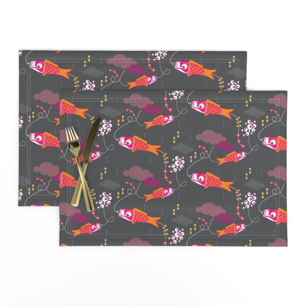 Lamona Cloth Placemats featuring Koi No Bori (Japanese Koi Fish Kites) in the night sky by zesti