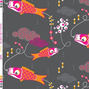 Koi No Bori (Japanese Koi Fish Kites) in the night sky
