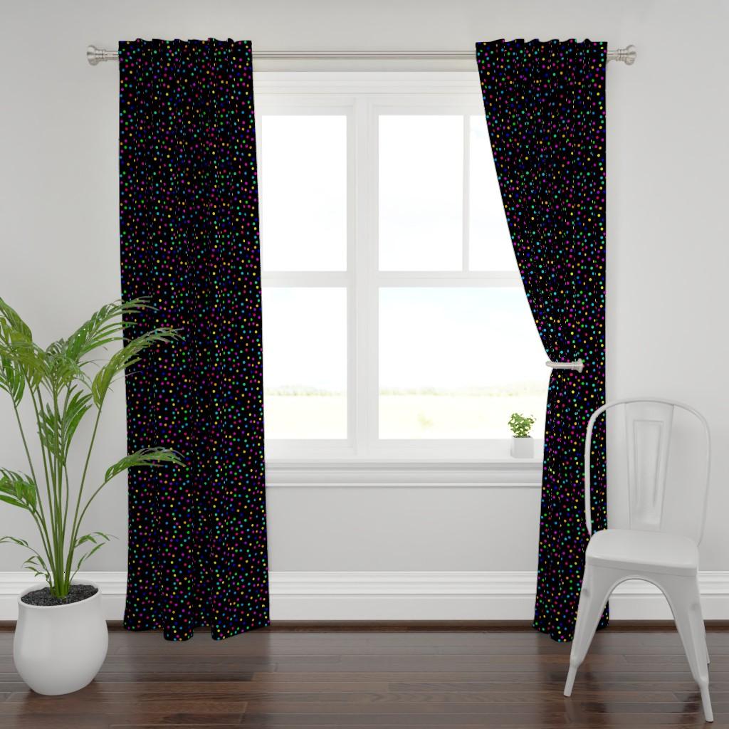Plymouth Curtain Panel featuring Confetti on Black (half size) by bravenewart