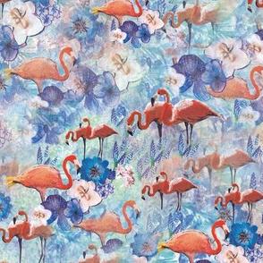 Flamingos in blue