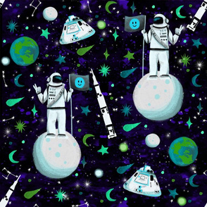Moon Landing - man on the moon, astronaut fabric, moon landing fabric, saturn v, space fabric