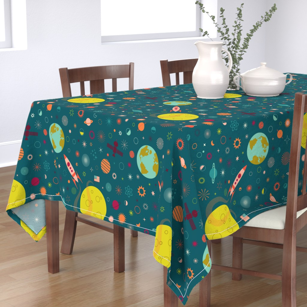 Bantam Rectangular Tablecloth featuring One Giant Leap for HUmankind by katerhees