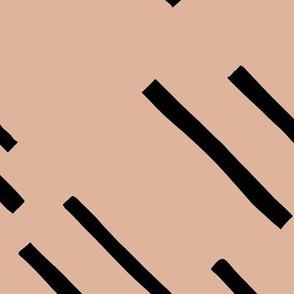 Basic stripes and strokes diagonal rain monochrome circus theme black and white beige JUMBO