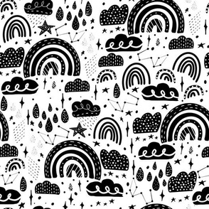 rainbows- black and white