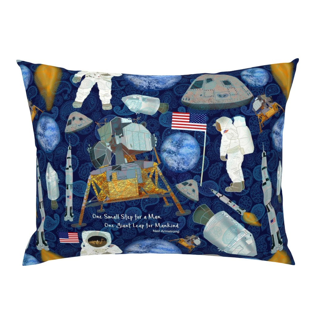 Campine Pillow Sham featuring APOLLO 11 MOON LANDING PAISLEY by honoluludesign