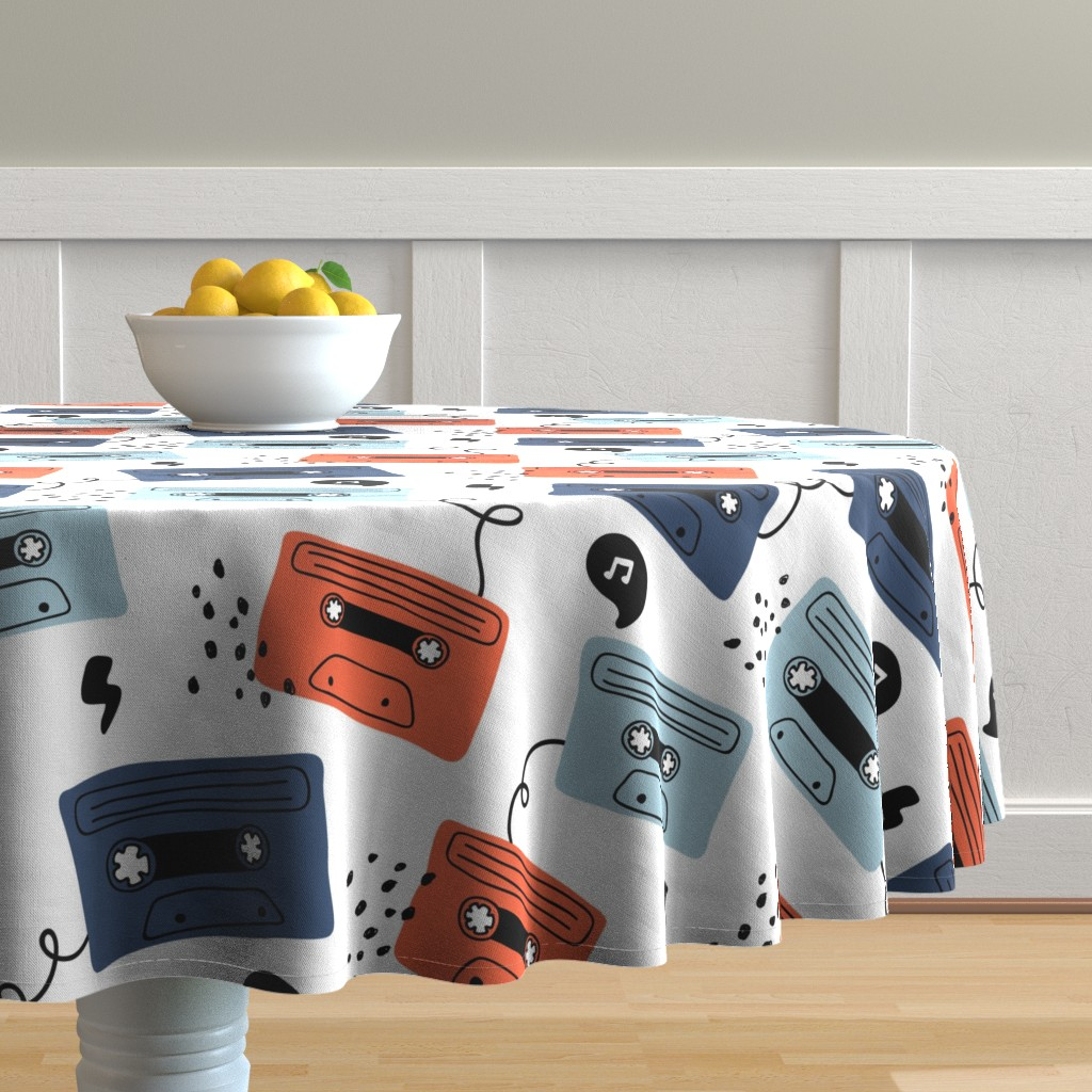 Malay Round Tablecloth featuring Retro mood- large scale by yuliia_studzinska