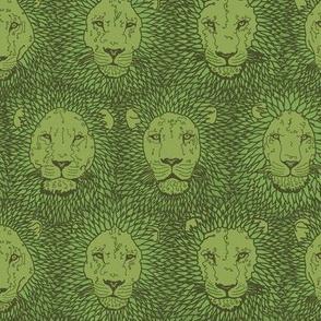 Copper green lions